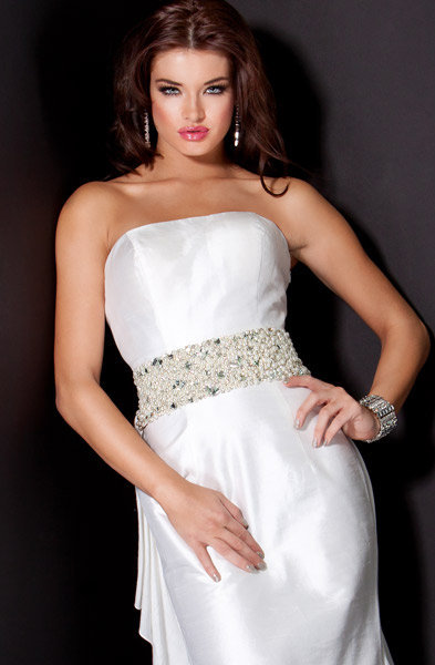 Strapless Ruffle Back Gown Side, Style 9915
