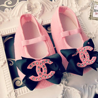Baby Girl Pink Crib Shoes ,baby booties black bow cc embellisment. Ready to ship