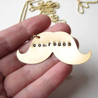 comrades mustache necklace SET - best friends / friendship personalized custom jewelry bff necklace set of 2