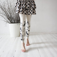 Ivory butterflies-  beige leggings