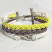 Infinity bracelet - Cross bracelet, Infinity charm and Cross charm, Men's Women's Leather bracelets, Braided bracelets