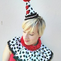Polka Dot ,Clown Collar, Circus Costume, Polka Dot, Red Roses, Burlesque, Batcakes Couture