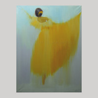 yellow dancer art print - dancer print - ballerina print of oil painting