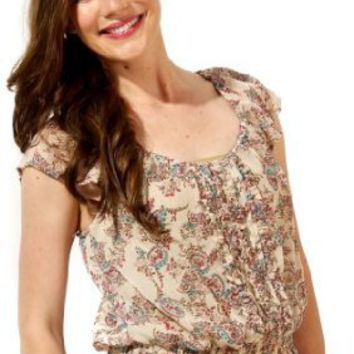 Amazon.com: Bohemian Paisley Peasant Blouse Top: Clothing