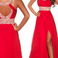2013 Long Red Chiffon Evening Ball Cocktail Prom Dress Bridesmaid Dresses Gown