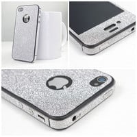 Silver Shiny Rhinestone Cover Skin Sticker For Iphone 4/4s/5