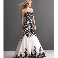 2013 Allure Bridal - White Organza &amp; Black Lace Wedding Gown - Unique Vintage - Prom dresses, retro dresses, retro swimsuits.