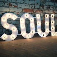 Metal Letters SOUL light fixture 18 inch tall marquee signage