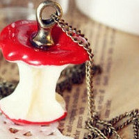 red cute  apple  charm necklace by qizhouhuang on Etsy