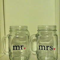 Set of 2 Mr. and Mrs. Drinking Jar (mason jar) Glasses