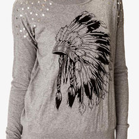 Studded Feather Graphic Sweater | FOREVER 21 - 2049256905