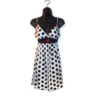 White and Black Polka Dot Spaghetti Strap Dress with Red Button Accents Retro Pin Up Womens XL