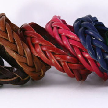 Braided leather bracelet cuff with metal snap closure. Adjustable size. Fresh colors and natural tones. Genuine leather. Ships from US. B012