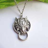 teen wolf head necklace--silver charm  pendant,antique silver necklace,alloy necklace,alloy chain