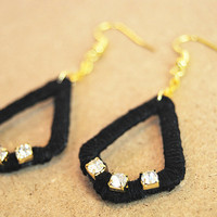Black dangle earrings with rhinestones, cotton thread and recycled cardboard