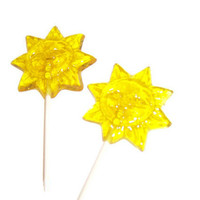 6 Sun Lollipops - Lemon Flavor - Yellow Color - Sunshine , Summer Parties