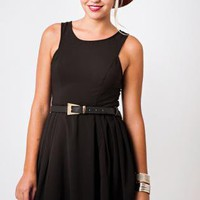 Black Sleeveless Skater Dress, Black