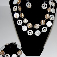 Summer Jewelry,White Shells,Freshwater Pearls,Jewelry Set