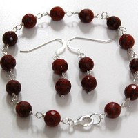 Sterling Silver,Brecciated Red Jasper,Bracelet,Earrings