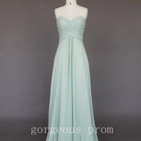 Gracefull Light Green A-line Sweetheart Sweep Train Prom Dress