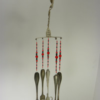 Wind chime with silver vintage twisted forks black and red beads JUST FORKIN AROUND