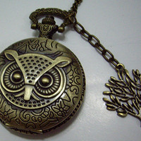 vintage owl great pocket watch with a tree by qizhouhuang on Etsy