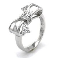 Sterling Silver Cubic Zirconia Infinity Bow Ring - Available Size: 4, 4.5, 5, 5.5, 6, 6.5, 7, 7.5, 8, 8.5, 9, 9.5, 10: Jewelry