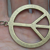 peace tag  necklaceantiqued brassSALE by qizhouhuang on Etsy