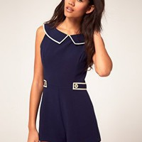River Island Peter Pan Collar Playsuit at ASOS