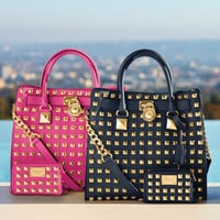 MICHAEL Michael Kors  Large Hamilton Pyramid-Stud Tote &amp; Pyramid-Stud Muiltifunction Phone Case - Michael Kors