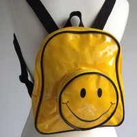 90's Smiley Face Yellow Vinyl Vintage Mini Backpack