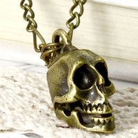 Steampunk skeleton Skull NecklaceDay of the by qizhouhuang on Etsy
