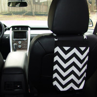 Car Trash Bag Chevron Black and White
