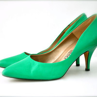 Vintage mint green womens shoes pumps heels spring by Pamplepluie
