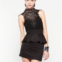 A'GACI Crochet Neck Peplum Dress - Dresses