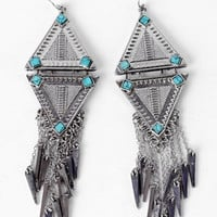 Dagger's Tip Earrings in Seafoam Silver :: tobi