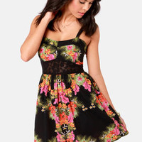 Element Eden Paris Floral Print Lace Dress