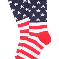 K.Bell Socks American Flag Crew Socks in Red, White, &amp; Blue