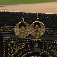 Brass Scarab Earrings - RagTraderVintage.com