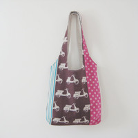 Scooter Tote Bag, Pink and Brown Scooter Bag, Japanese Fabric Purse, Ready to Ship