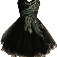 Amazon.com: Metallic Peacock Embroidered Holiday Party Prom Dress Junior Plus Size: Clothing