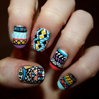Tribal/Aztec Illuminati Nail Art  Set of 24 False by ZebberNails