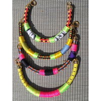 Set of 3 Bungee Cord Bangles with Neon Details