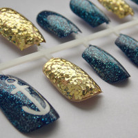 Navy and Gold Glitter Nautical Fake Nails - False, Artificial, Acrylic, Press-On