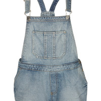 MOTO Bleach Denim Dungarees - Spring Denim - We Love - Topshop