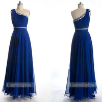 Blue Chiffon Formal Dress Decorated With Beads Prom Dress Evening Dress prom dresses Long prom dress Party dress