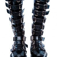 Demonia Wicked Buckle Creeper Boots | Dolls Kill