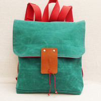 Cute Green Waxed Canvas  Backpack  with Adjustable Red by ottobags