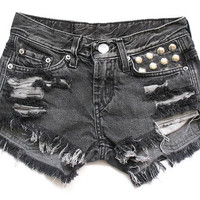 50% SALE Low rise shredded and studded shorts S