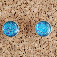 Nail Polish Studs - repurposed jewelry glitter handmade earrings 16mm post glam girly accessories FREE shipping to USA
